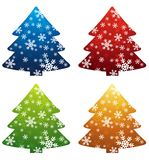 Christmas trees, vector. Four christmas trees over white background, vector royalty free illustration