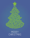 Christmas trees. Vector on blue background - Merry christmas Stock Image
