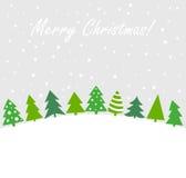 Christmas trees vector card Royalty Free Stock Photos