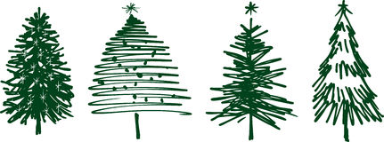 Christmas trees. Vector image of the various hand drawn christmas trees Stock Photography