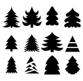 Christmas trees. Vector set of silhouettes isolated on white background Stock Photography