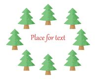 Christmas trees on a white background with a place for your text. Vector illustration. Eps royalty free illustration