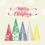 Christmas trees winter holidays greeting card art Royalty Free Stock Image