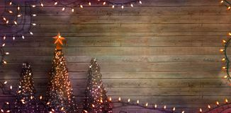 Christmas trees on wood. Fairy Lights stock photography