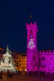 Christmas in Trento, a charming old town with the Christmas lights. Royalty Free Stock Photography