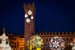 Christmas in Trento, a charming old town with the Christmas lights. stock photos