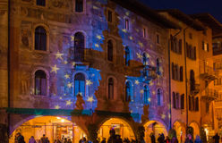 Christmas in Trento, a charming old town with the Christmas lights. Trento , italy royalty free stock image