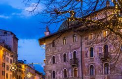 Christmas in Trento, a charming old town with the Christmas lights. Urban night scene stock photography