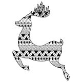 Christmas tribal ethnic Reindeer. Boho tattoo design with doodle Royalty Free Stock Photo