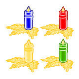 Christmas trimmings candle faience vector Stock Photos