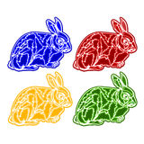 Christmas trimmings rabbit faience vector. Christmas trimmings rabbit faience vintage vector illustration Royalty Free Stock Photo