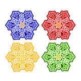 Christmas trimmings snowflake faience vector. Christmas trimmings snowflake faience vintage vector illustration Royalty Free Stock Photography