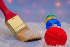 Christmas trinkets and brush Stock Photos