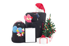 Christmas trip - suitcase and packpack, giftbox, wishlist and ch Royalty Free Stock Images