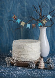Christmas triple chocolate layer cake. Milk, white and dark chocolate cake on wooden background. Christmas background Royalty Free Stock Images
