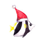 Christmas tropical fish in red santa's hat. Water color. Cute new year character tropical fish in red santa's hat. Water color fish Royalty Free Stock Image
