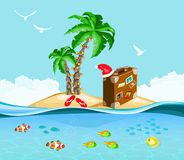 Christmas on a tropical island, travel concept. Christmas on a tropical island, plants and Underwater life fish, travel concept Royalty Free Stock Photos