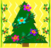 Christmas Tropical Tree with Holly Royalty Free Stock Photos