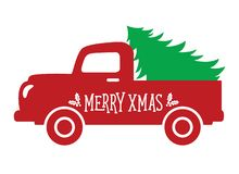 Old Vintage Truck Carrying a Christmas Tree stock illustration