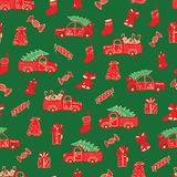 Christmas trucks and gifts red and green pattern. royalty free illustration