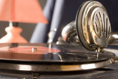 Christmas tunes. Ancient gramophone close up view Royalty Free Stock Photos