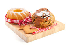 Christmas turban and currant bread stock photo