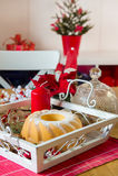 Christmas turban at the table Stock Photo