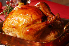 Christmas turkey. At the table