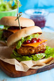Christmas Turkey Burgers. With Cranberry Sauce Stock Photography