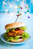 Christmas Turkey Burgers. With Cranberry Sauce Stock Photo