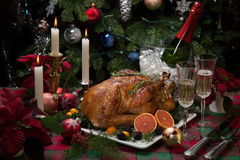 Christmas Turkey Dinner with Champagne Stock Photo