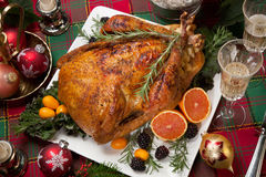 Christmas Turkey Dinner with Champagne Royalty Free Stock Photos