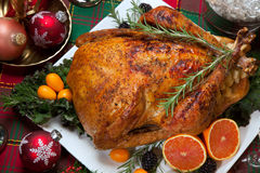 Christmas Turkey Dinner with Champagne Stock Image