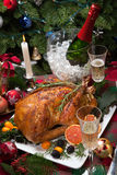 Christmas Turkey Dinner with Champagne Stock Photography