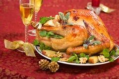 Christmas turkey on holiday ta Royalty Free Stock Photography