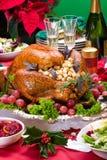 Christmas turkey on holiday table Stock Photography
