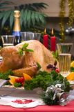 Christmas turkey on holiday table Stock Photos