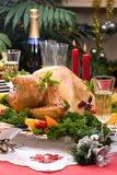 Christmas turkey on holiday table Royalty Free Stock Image