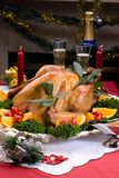 Christmas turkey on holiday table Royalty Free Stock Photography
