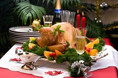 Christmas turkey on holiday table Royalty Free Stock Photos