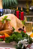 Christmas turkey on holiday table Stock Images