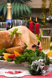 Christmas turkey on holiday table Royalty Free Stock Image