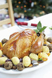 Christmas Turkey On Table Stock Photography