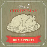 Christmas turkey. Vintage style for rrestaurants and cafe menu Stock Images
