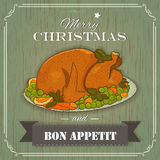 Christmas turkey vintage. Style for rrestaurants and cafe menu Stock Photos