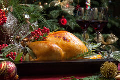 Christmas Turkey In Wooden Tray Stock Photography