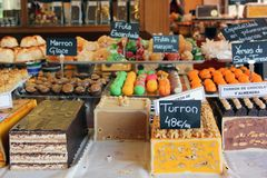 Christmas turron and sweets on display in spain royalty free stock photos
