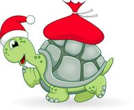 Christmas turtle cartoon Royalty Free Stock Images
