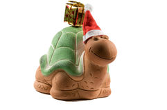 Christmas turtle frontal Royalty Free Stock Photos
