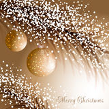 Christmas twig with baubles and snow Stock Photo